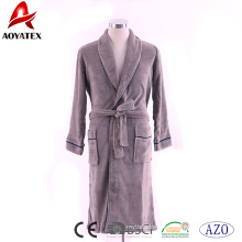 Manufacturers supply 100% polyester flannel fleece brown man bathrobe with piping