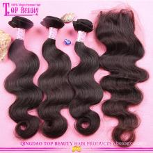 Оптовая высокое качество перуанский волосы с закрытием 2016 горячая распродажа класс 8а Девы волос связки с кружевом закрытие