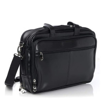 Skräddarsydd Top-Zip Black Laptop Läder Messenger Bag