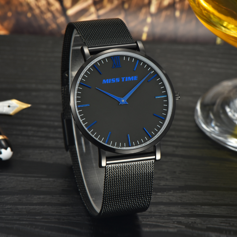 stainless steel bands water resistant quartz mens watch