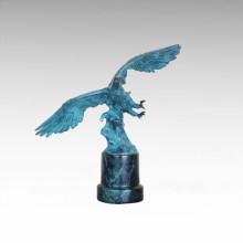 Animal Bronze Sculpture Eagle Decor Brass Statue Tpal-458