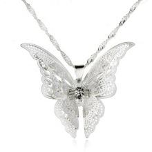 Fashion Pure Silver Neckace New Style Collier Pendentifs Pendentifs Papillons