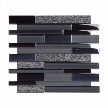 Soulscrafts Strip Gray Glass Mixed Stone Shaped Mosaic Tiles