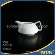 "2015 chaozhou restaurant hot sales 150"" white porcelain small milk jug"