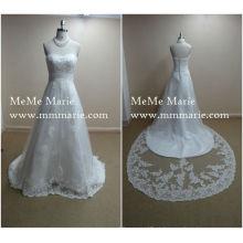Laço de trem grande nupcial de alta qualidade mais vestido de casamento de tamanho