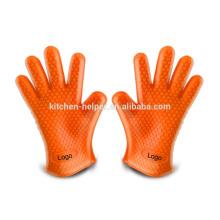 La cocina al por mayor que cocina los guantes duros del horno de microonda del silicón resistente al calor / el guante del Bbq del horno de la parrilla del silicón / el mitón del horno