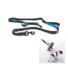Reflective Stitching Webbing Extension-Type Dog Leash Double Hooks Retractable Double Dog Bungee Leash