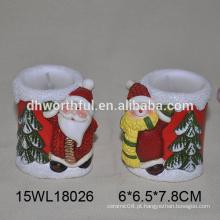 Cerâmica, tealight, vela, suporte, santa, claus, 2016, natal, decoração