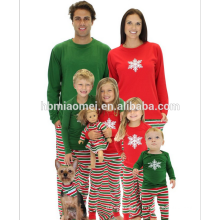 2016 Pyjamas de Noël chaud vente enfants avec haut rouge et vert avec un pantalon rayé