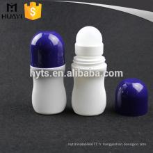 Rouleau déodorant en plastique de couleur blanche 50ml sur la bouteille