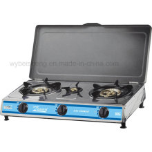 Stainless Steel Gas Cooker, Three Burners with Cover