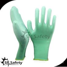 SRSAFETY green pu gloves/13 gauge green polyester rayon glove