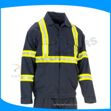 Chine 100% coton drill veste bleu marine avec bande FR