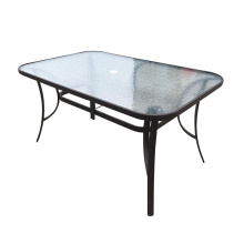 Hot Sale Rectangular Modern Outdoor Metal Tempered Glass Patio Dining Garden Table with Umbrella Hole Glass Top