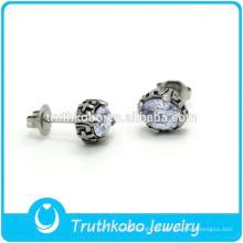 TKB-E0082 Joyas de plata uk Pendientes de botón con estampado de pata con incrustaciones de diamantes de imitación, libres de alergias