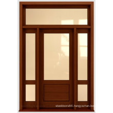 Stained Wooden Front Door with Two Side Lites
