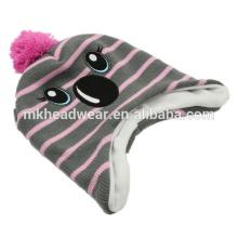 Children Earflap Beanie Hat, Inka Hat, Cute Warm Winter Beanie Hat with Earflaps Pattern