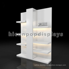 Creative Freestanding White Painted Fashion Retail Store Lighting Clothing Display Cabinets Wood