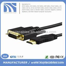 HDMI 1.4 Gold Mann zum VGA-Mann-Kabel für Mac 6FT 1.8M 1080P