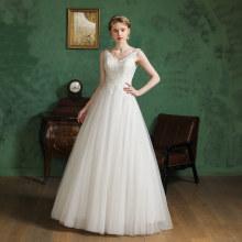 Beautiful Bride Lace Deep V Design Transparent White Color Women wedding dresses for women plus size