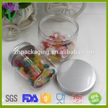 PET food grade round empty transparent plastic candy jar with aluminium lid