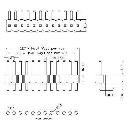 1.27 mm Pin Header Single Row Angle Type