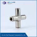 Air-Fluid Brass Nickel-Plated Equal Cross Push in Fittings.