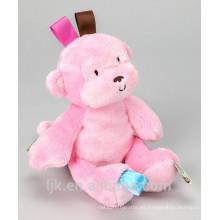 Diseño personalizado de peluche mono rosa juguetes de peluche
