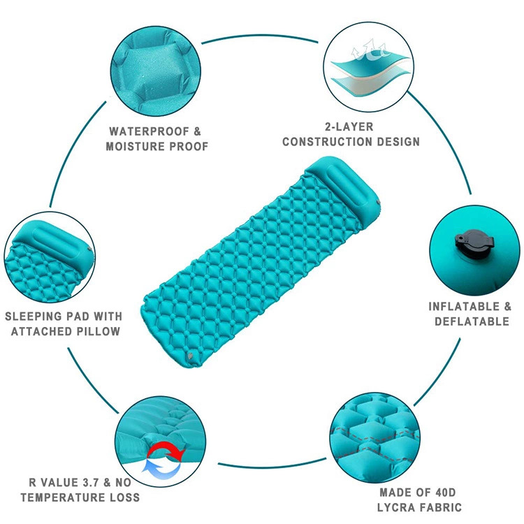 Inflatable camping sleeping mat multi-color optional