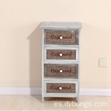 Indoor Solid Wood Vintage 4 Drawers Storage Cabinet