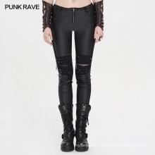 PUNK RAVE girls punk tight handsome plus size vintage party club black PU leather slim pant