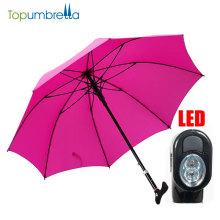 высокое качество изготовленный на заказ автоматический многофункциональный безопасности трость зонтик с LED и рога