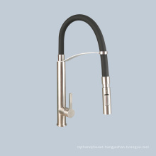 Stainless black steel hose type kitchen faucet