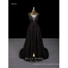 Bridal dress new 2017 sequin black deep-V back evening dress made in china