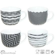 Black & White New Bone China Soup Mug