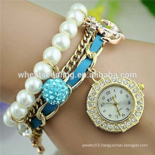 2014 trendy diamond dial anchor and shambala beads pearl strap cheap chinese watch