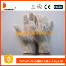 Natural Cotton Polyester Gloves with White PVC Dots Both Sides Dkp209