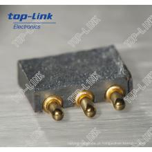 Conector carregado mola com 3 pinos, alta durabilidade, passo fino