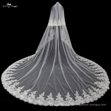 TA037 Applique With Pearl Soft Tulle Wedding Veils