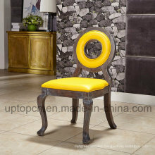 Wooden Louis Restaurant Furniture Chair with Circle Hollow and Bright Yellow Upholstery (SP-EC873)