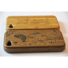 Engrave Grass Style Wood Mobile Cover