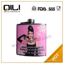 304 18/8 FDA y LFGB alta calidad acero inoxidable color rosa frasco de la cadera