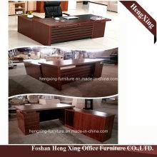 Hx-6m058 Mahogany Color 3 Drawers Lockable L Shape Office Desk