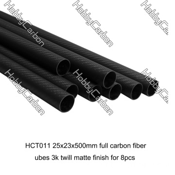 Tubo matte da fibra do carbono da sarja 3k de 25x23x500mm