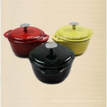 3PCS Emaille Gusseisen Kochgeschirr Set für drei Größen Kasserolle