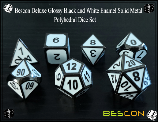 Bescon Deluxe Glossy Black and White Enamel Solid Metal Polyhedral Role Playing RPG Game Dice Set (7 Die in Pack)-5