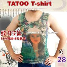 2016 stylish mesh sleeveless tattoo print t shirt