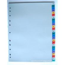 26 pages couleur PP Index diviseur avec anglais imprimé (BJ-9029)