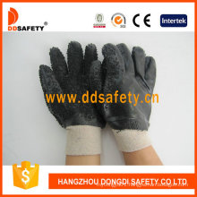 Black PVC Safety Gloves with Rough Finished Only on Palm Dpv117
