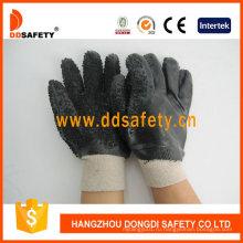Черные перчатки безопасности PVC с грубой закончил только на ладони Dpv117